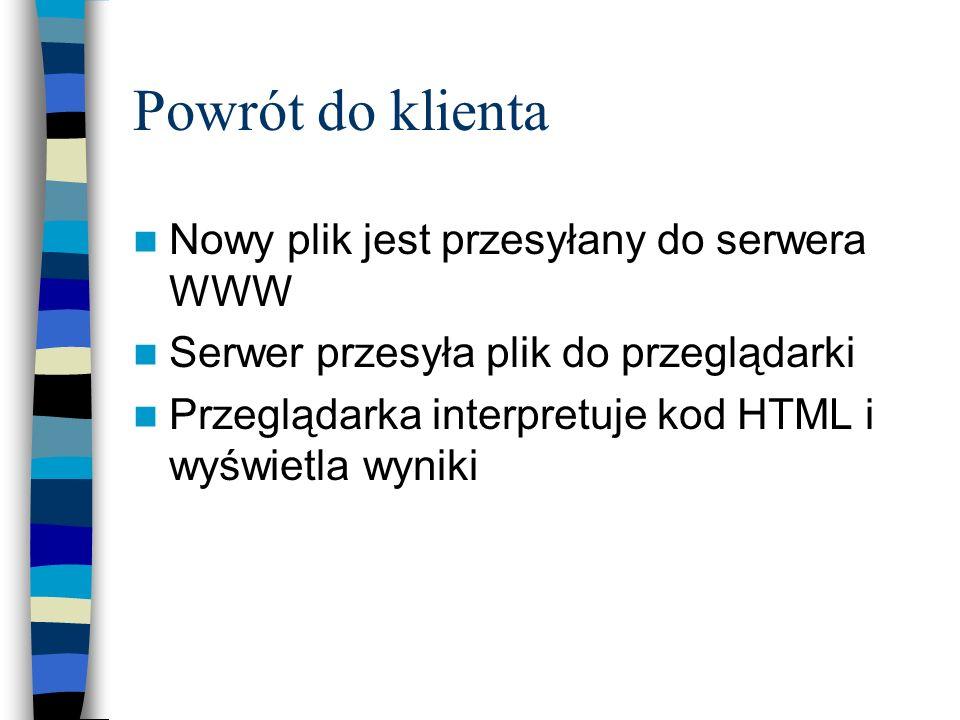 Powrót do klienta Nowy plik jest przesyłany do serwera WWW