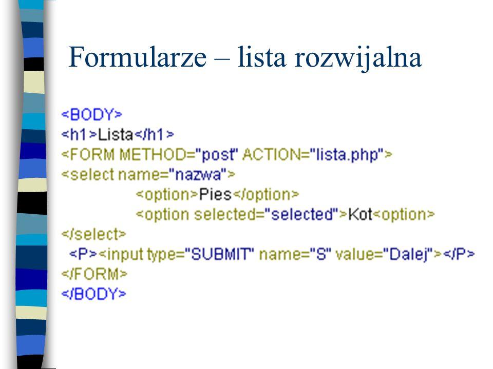 Formularze – lista rozwijalna