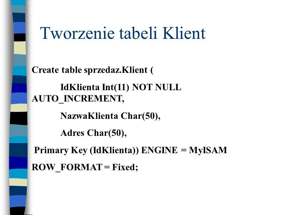 Tworzenie tabeli Klient