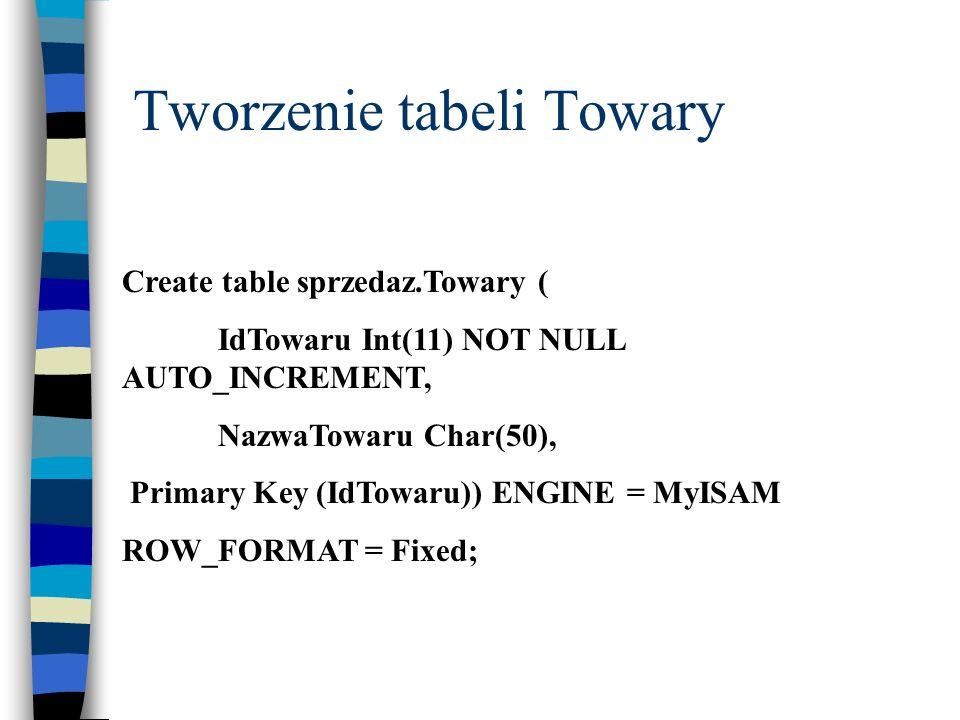 Tworzenie tabeli Towary