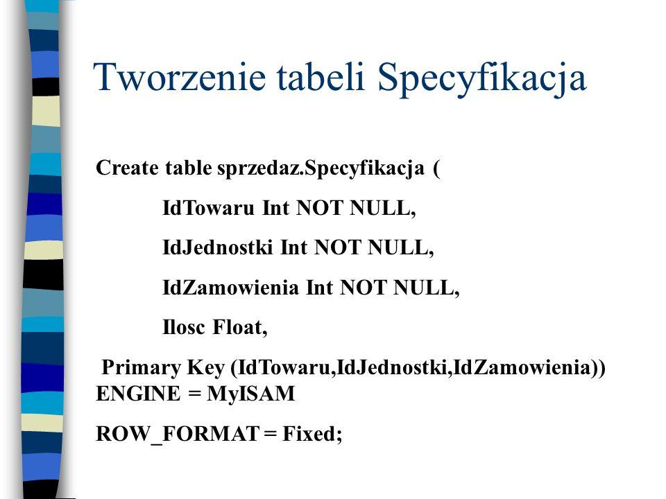 Tworzenie tabeli Specyfikacja