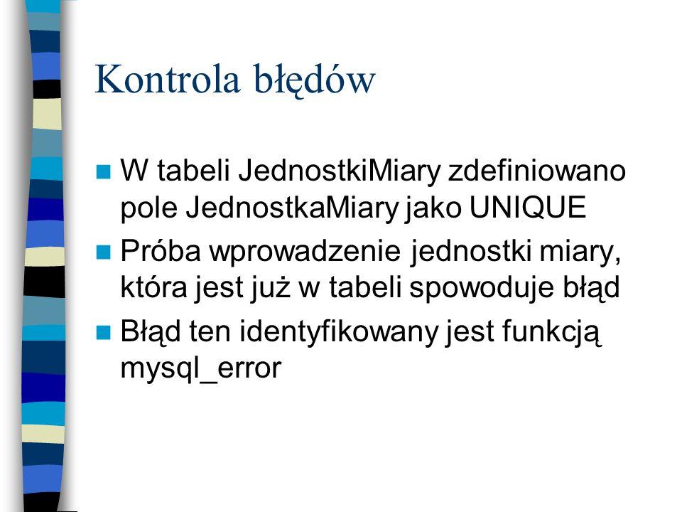 Kontrola błędów W tabeli JednostkiMiary zdefiniowano pole JednostkaMiary jako UNIQUE.