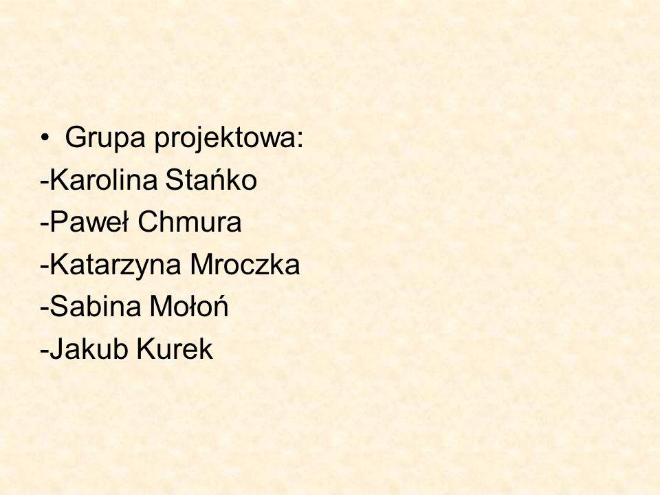 Grupa projektowa: -Karolina Stańko -Paweł Chmura -Katarzyna Mroczka -Sabina Mołoń -Jakub Kurek