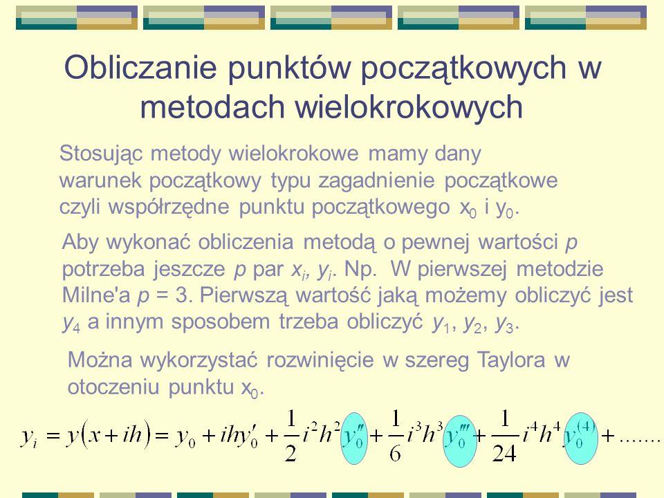 Obliczanie punktów początkowych w metodach wielokrokowych
