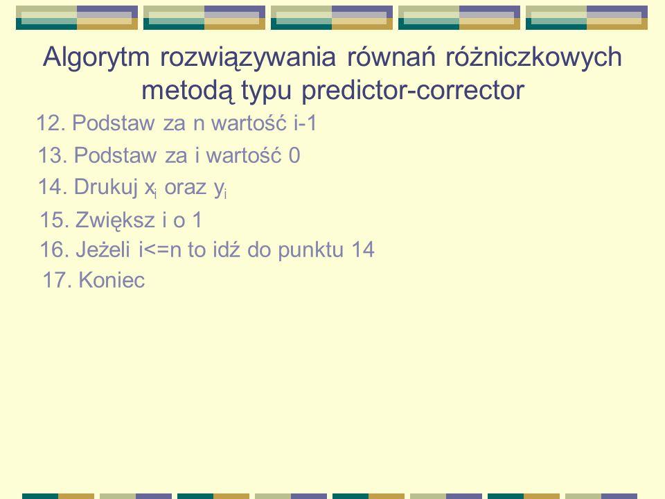 Algorytm rozwiązywania równań różniczkowych metodą typu predictor-corrector