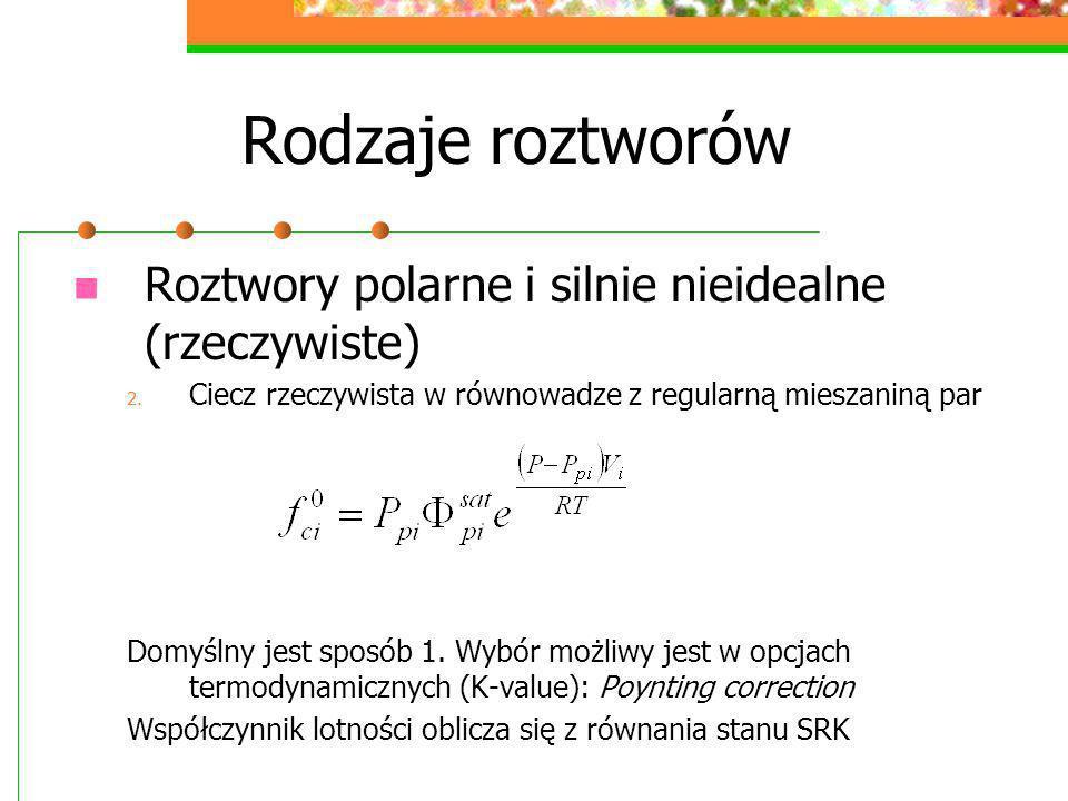 Rodzaje roztworów Roztwory polarne i silnie nieidealne (rzeczywiste)