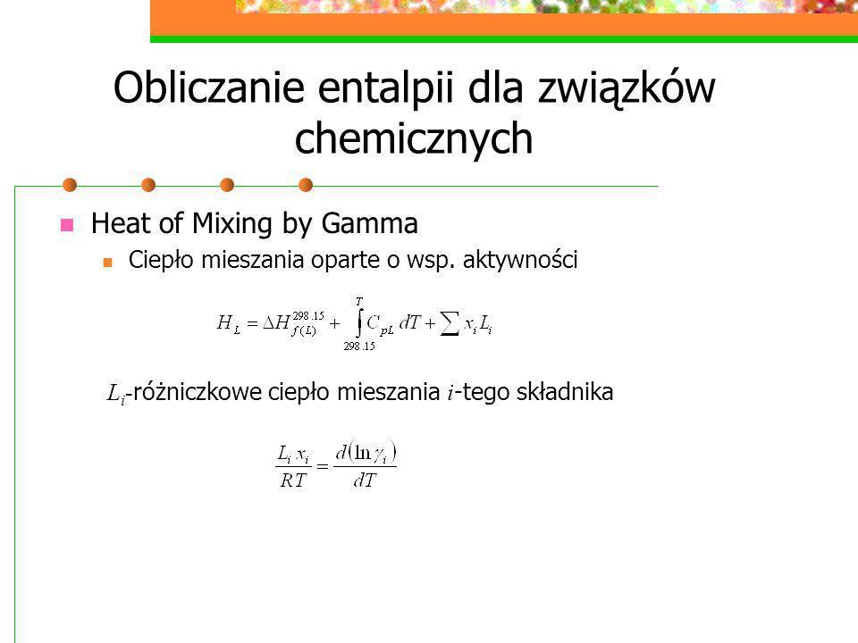 Obliczanie entalpii dla związków chemicznych