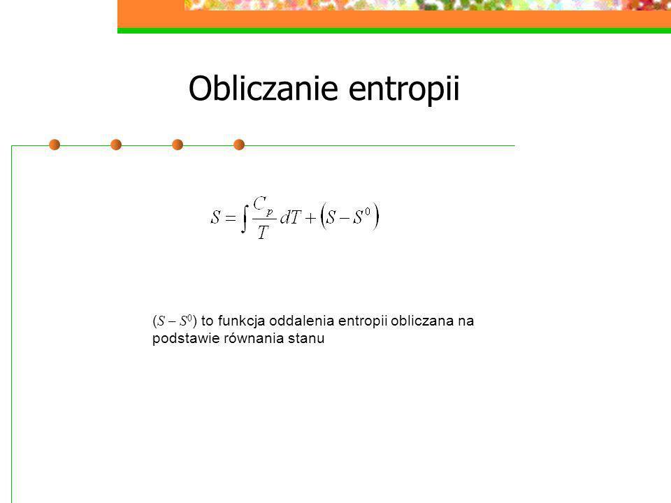 Obliczanie entropii (S – S0) to funkcja oddalenia entropii obliczana na podstawie równania stanu