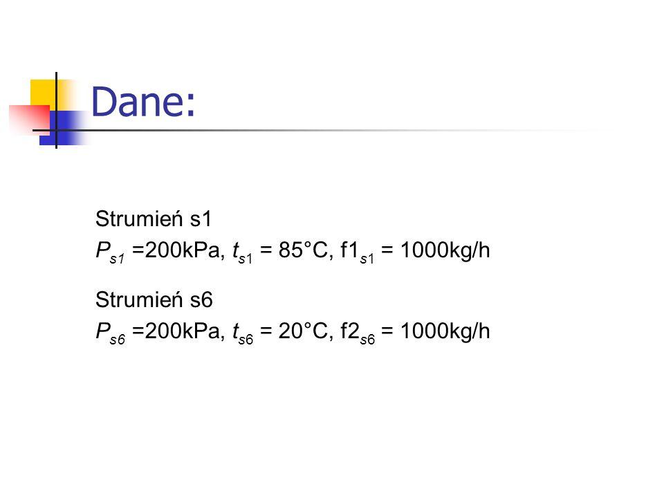 Dane: Strumień s1 Ps1 =200kPa, ts1 = 85°C, f1s1 = 1000kg/h Strumień s6