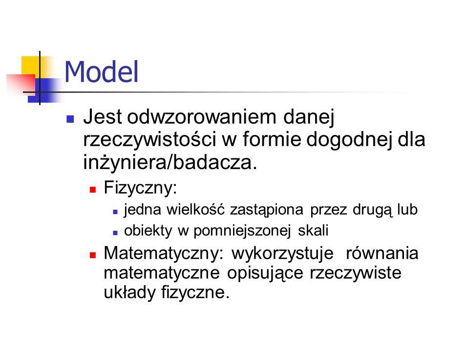 ModelJest odwzorowaniem danej rzeczywistości w formie dogodnej dla inżyniera/badacza. Fizyczny: jedna wielkość zastąpiona przez drugą lub.