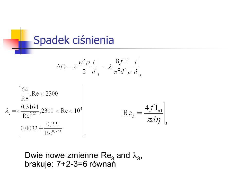 Spadek ciśnienia Dwie nowe zmienne Re3 and l3, brakuje: 7+2-3=6 równań