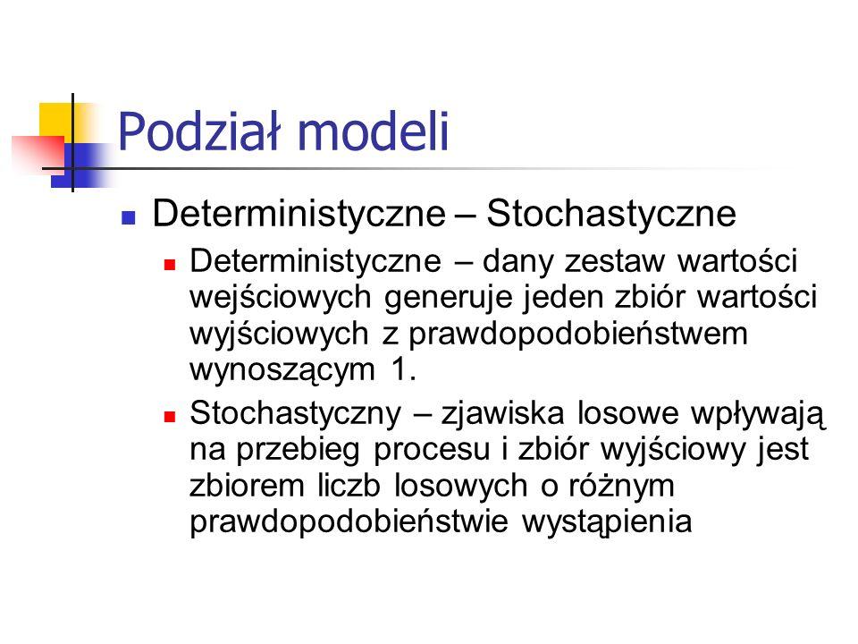 Podział modeli Deterministyczne – Stochastyczne