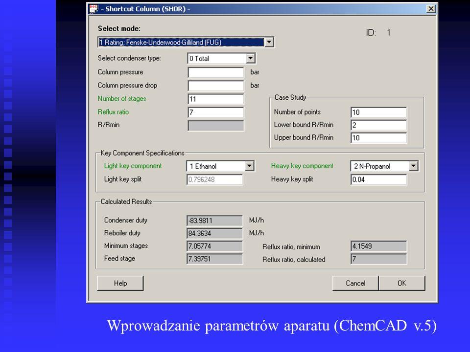 Wprowadzanie parametrów aparatu (ChemCAD v.5)