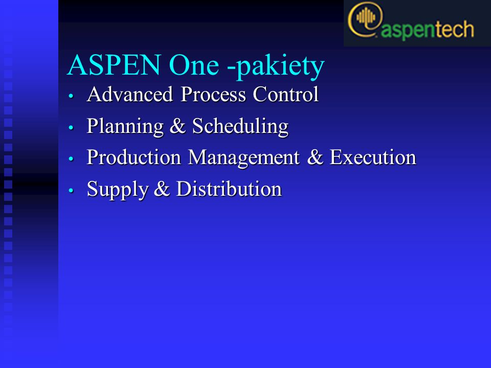 ASPEN One -pakiety Advanced Process Control Planning & Scheduling