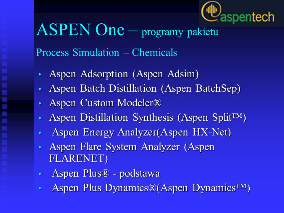 ASPEN One – programy pakietu Process Simulation – Chemicals