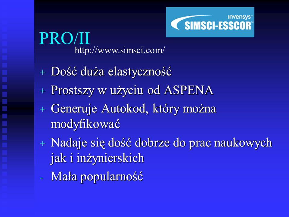 PRO/II Dość duża elastyczność Prostszy w użyciu od ASPENA
