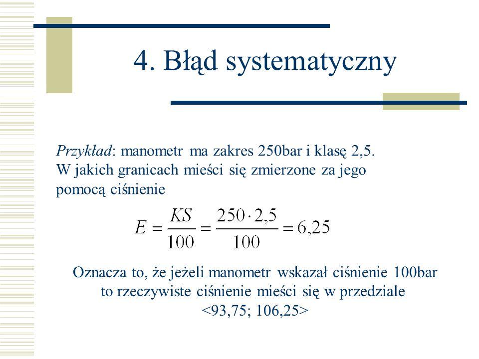 4. Błąd systematyczny Przykład: manometr ma zakres 250bar i klasę 2,5.