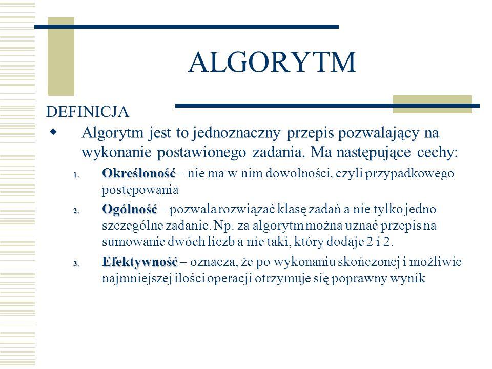 ALGORYTMDEFINICJA. Algorytm jest to jednoznaczny przepis pozwalający na wykonanie postawionego zadania. Ma następujące cechy: