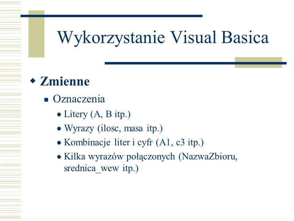 Wykorzystanie Visual Basica