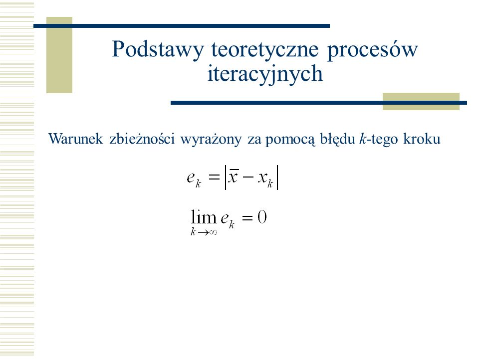 Podstawy teoretyczne procesów iteracyjnych