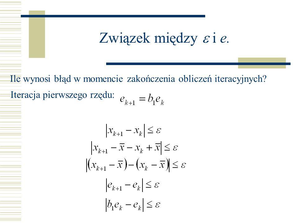 Związek między e i e.Ile wynosi błąd w momencie zakończenia obliczeń iteracyjnych.