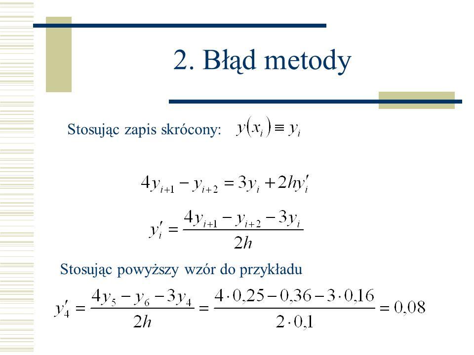 2. Błąd metody Stosując zapis skrócony: