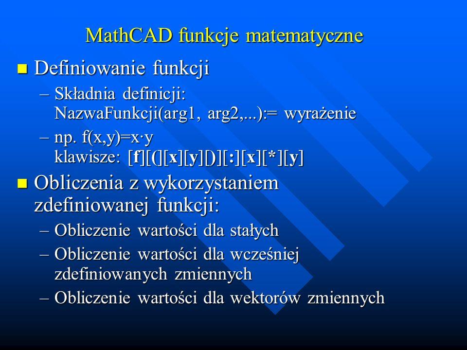 MathCAD funkcje matematyczne