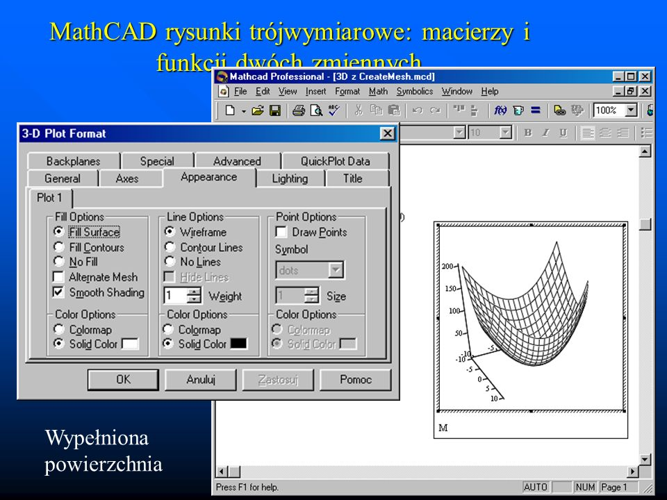 MathCAD rysunki trójwymiarowe: macierzy i funkcji dwóch zmiennych