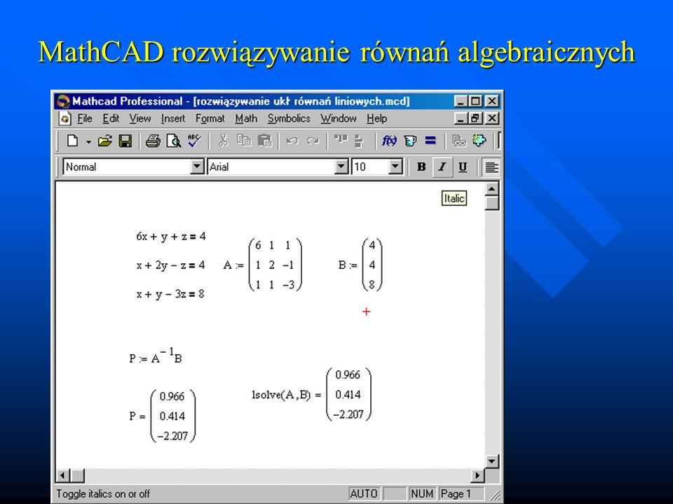 MathCAD rozwiązywanie równań algebraicznych