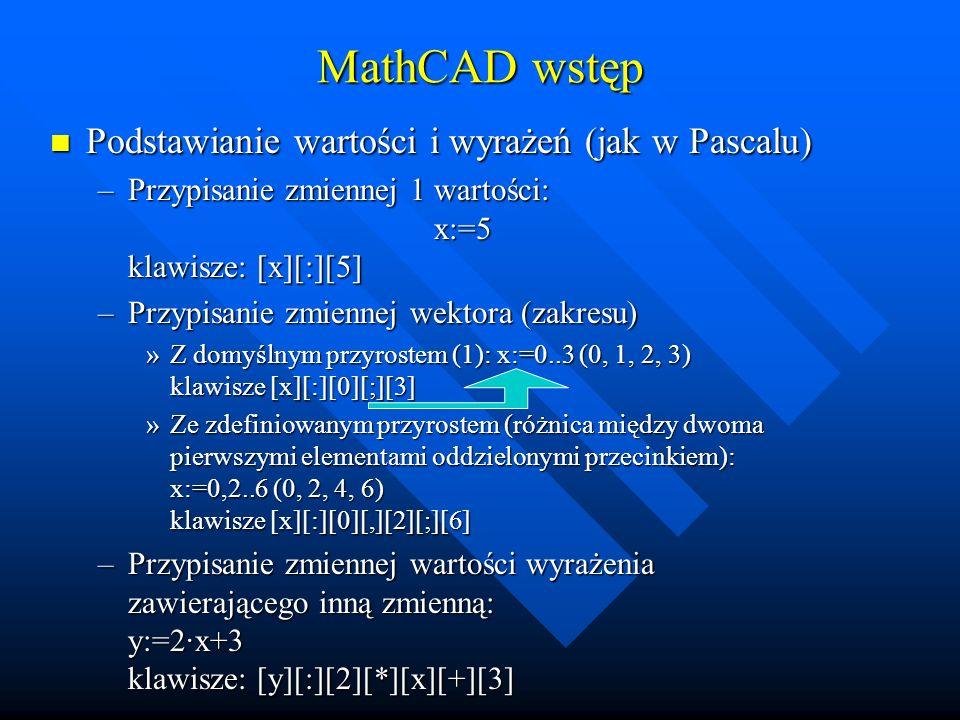 MathCAD wstęp Podstawianie wartości i wyrażeń (jak w Pascalu)