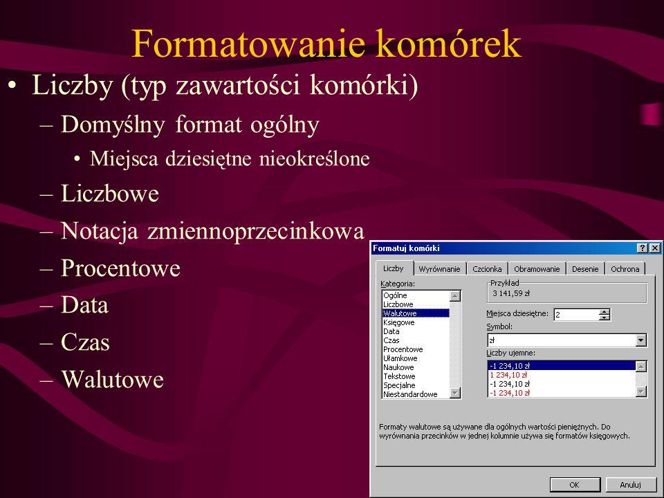 Formatowanie komórek Liczby (typ zawartości komórki)