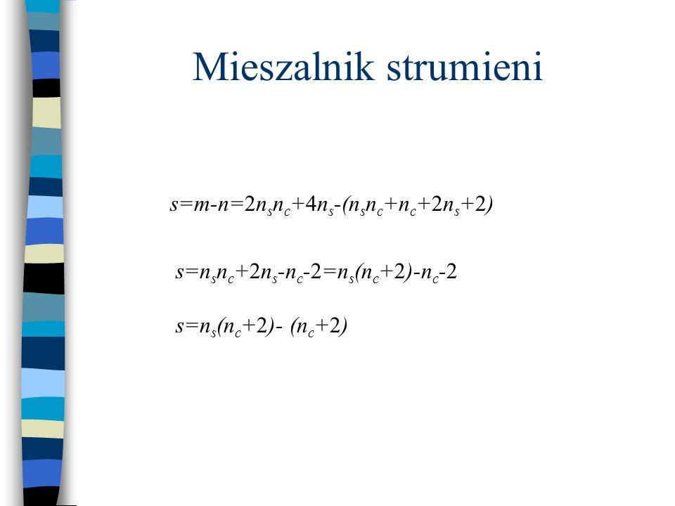 Mieszalnik strumieni s=m-n=2nsnc+4ns-(nsnc+nc+2ns+2)