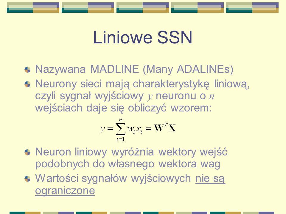 Liniowe SSN Nazywana MADLINE (Many ADALINEs)
