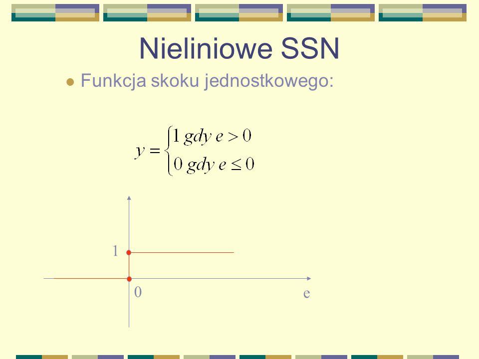 Nieliniowe SSN Funkcja skoku jednostkowego: 1 e