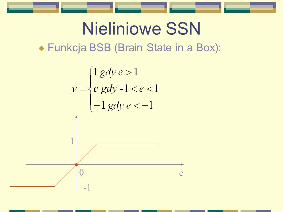 Nieliniowe SSN Funkcja BSB (Brain State in a Box): 1 e -1