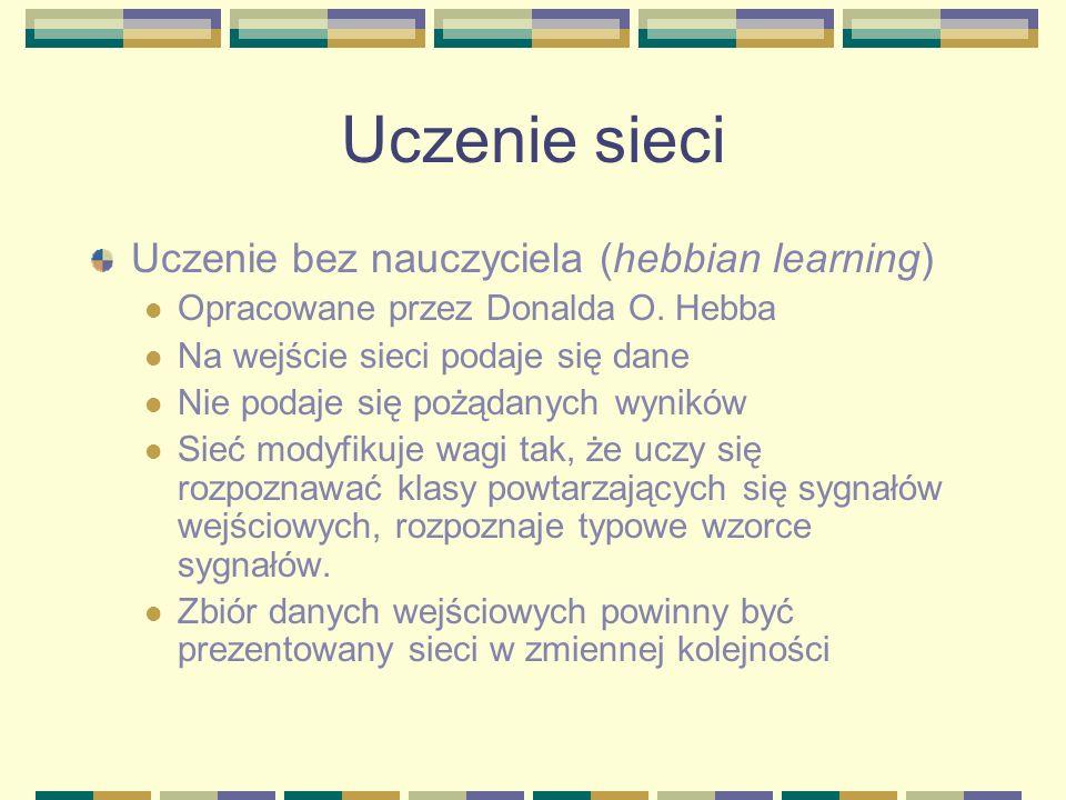 Uczenie sieci Uczenie bez nauczyciela (hebbian learning)