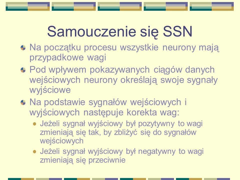 Samouczenie się SSNNa początku procesu wszystkie neurony mają przypadkowe wagi.