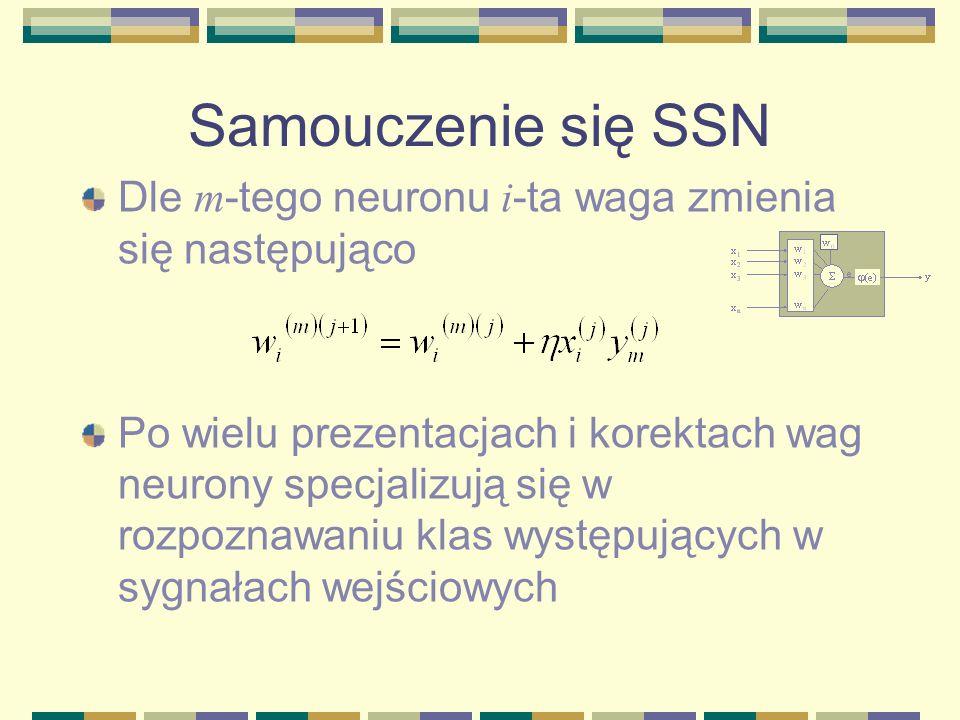 Samouczenie się SSN Dle m-tego neuronu i-ta waga zmienia się następująco.
