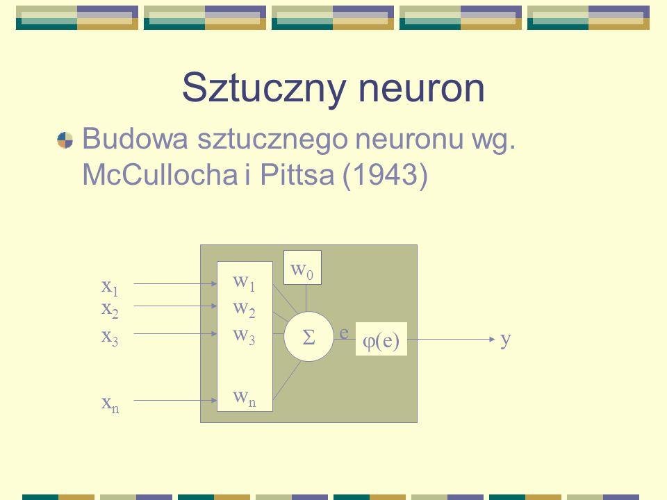 Sztuczny neuronBudowa sztucznego neuronu wg. McCullocha i Pittsa (1943) w1. w2. w3. wn. x1. x2. x3.