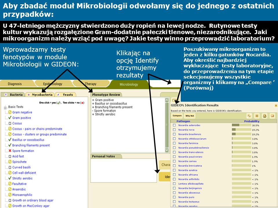 Aby zbadać moduł Mikrobiologii odwołamy się do jednego z ostatnich przypadków: