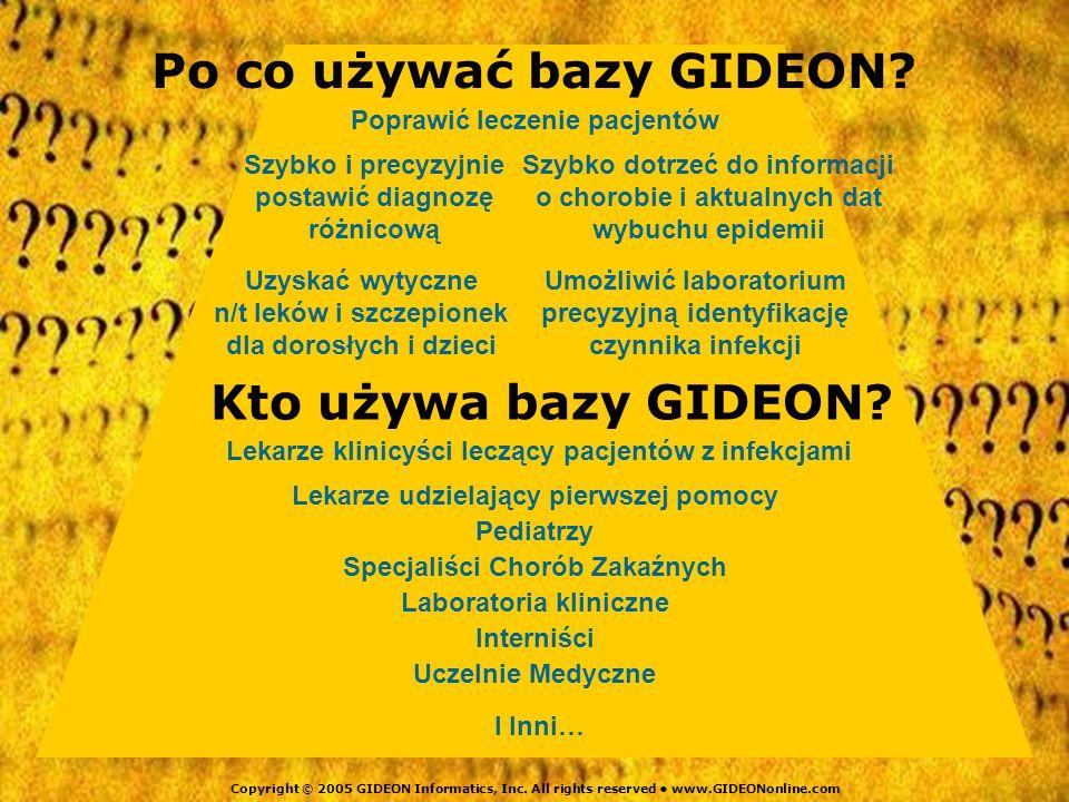Po co używać bazy GIDEON Kto używa bazy GIDEON