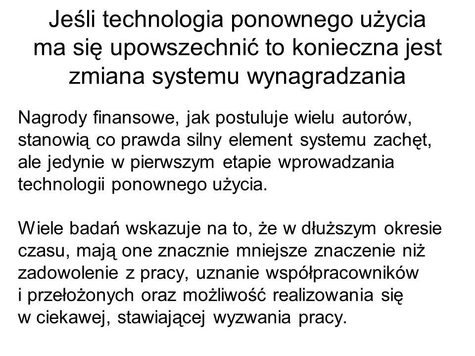 Jeśli technologia ponownego użycia ma się upowszechnić to konieczna jest zmiana systemu wynagradzania
