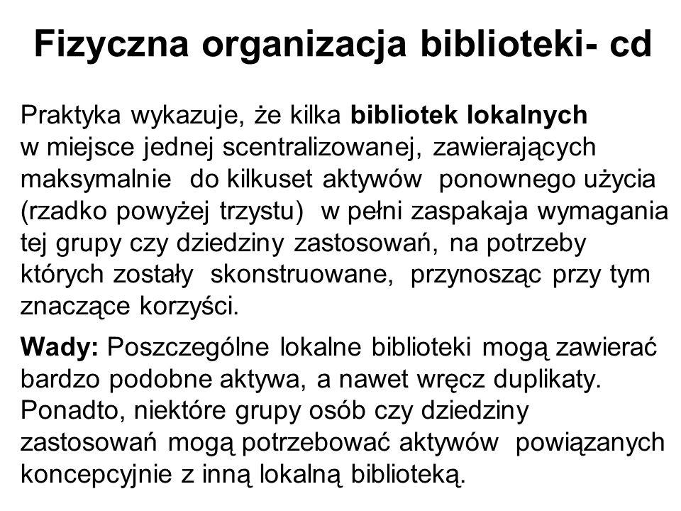 Fizyczna organizacja biblioteki- cd