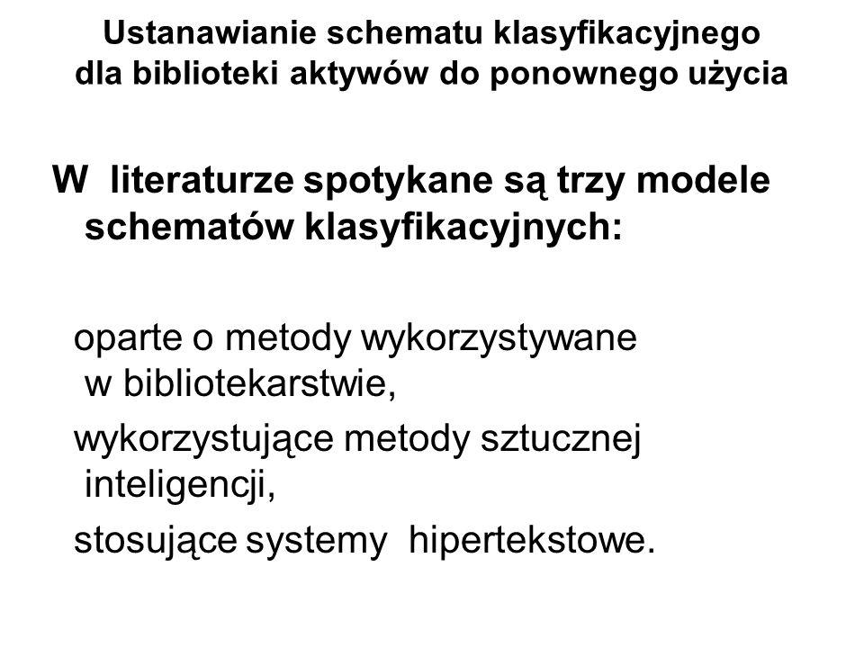W literaturze spotykane są trzy modele schematów klasyfikacyjnych: