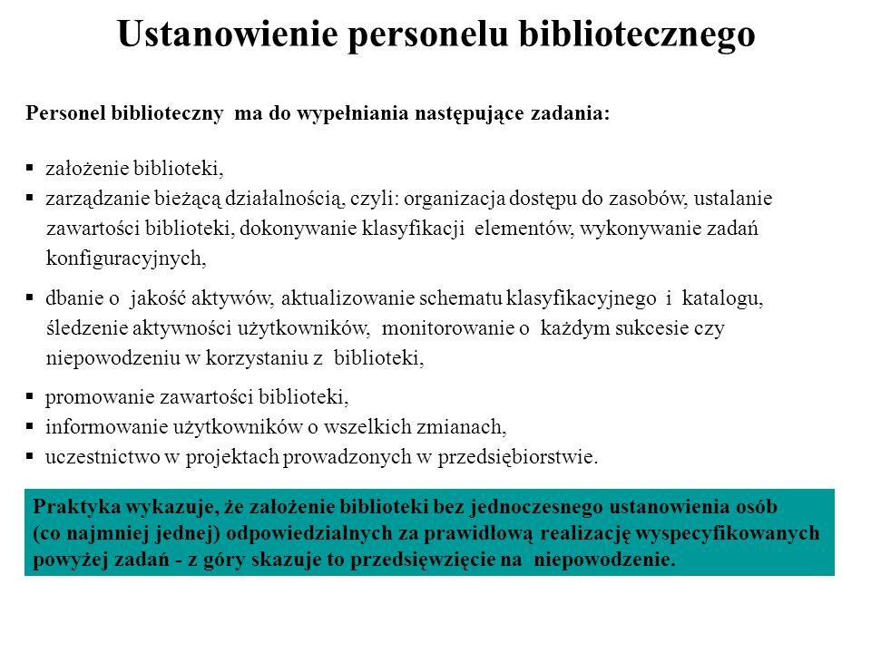 Ustanowienie personelu bibliotecznego