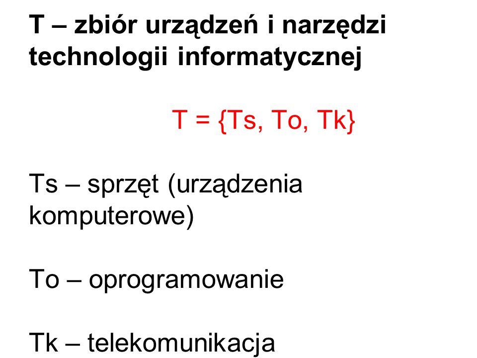 T – zbiór urządzeń i narzędzi technologii informatycznej