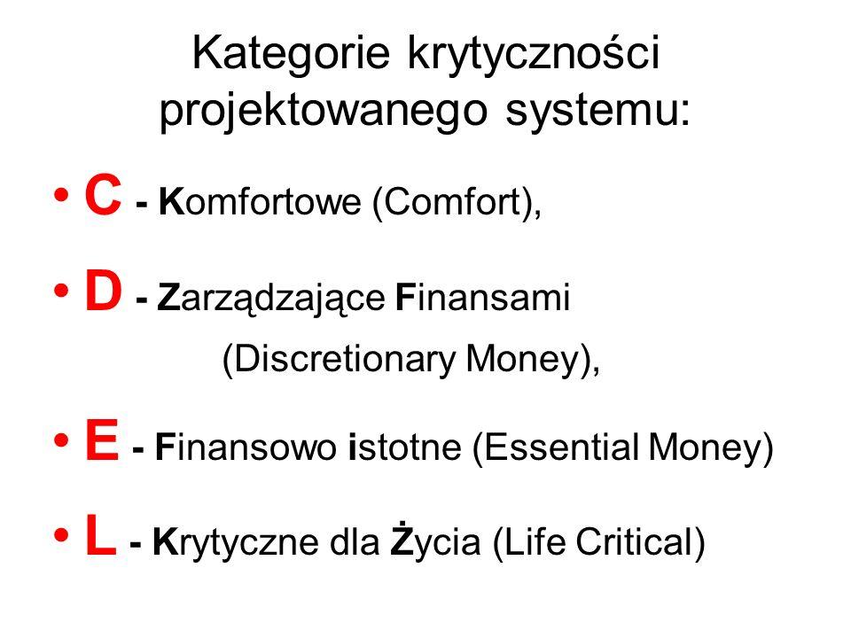 Kategorie krytyczności projektowanego systemu: