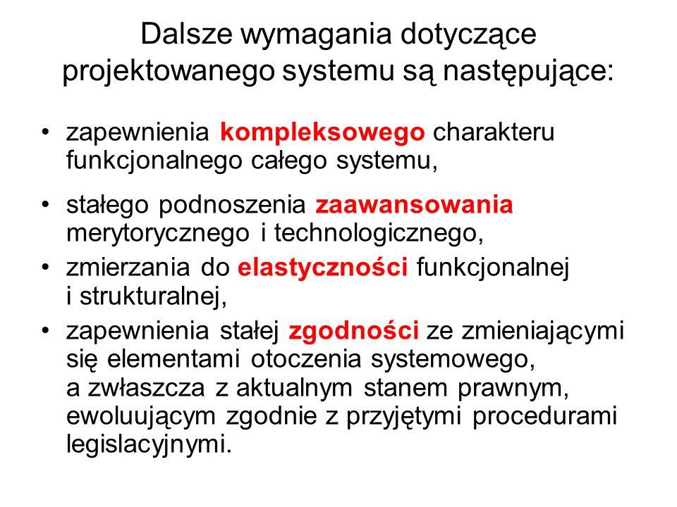 Dalsze wymagania dotyczące projektowanego systemu są następujące: