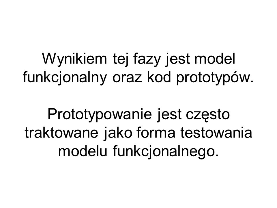 Wynikiem tej fazy jest model funkcjonalny oraz kod prototypów