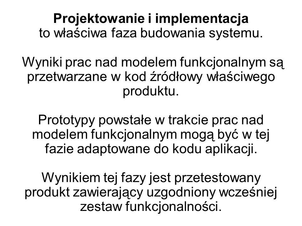 Projektowanie i implementacja to właściwa faza budowania systemu